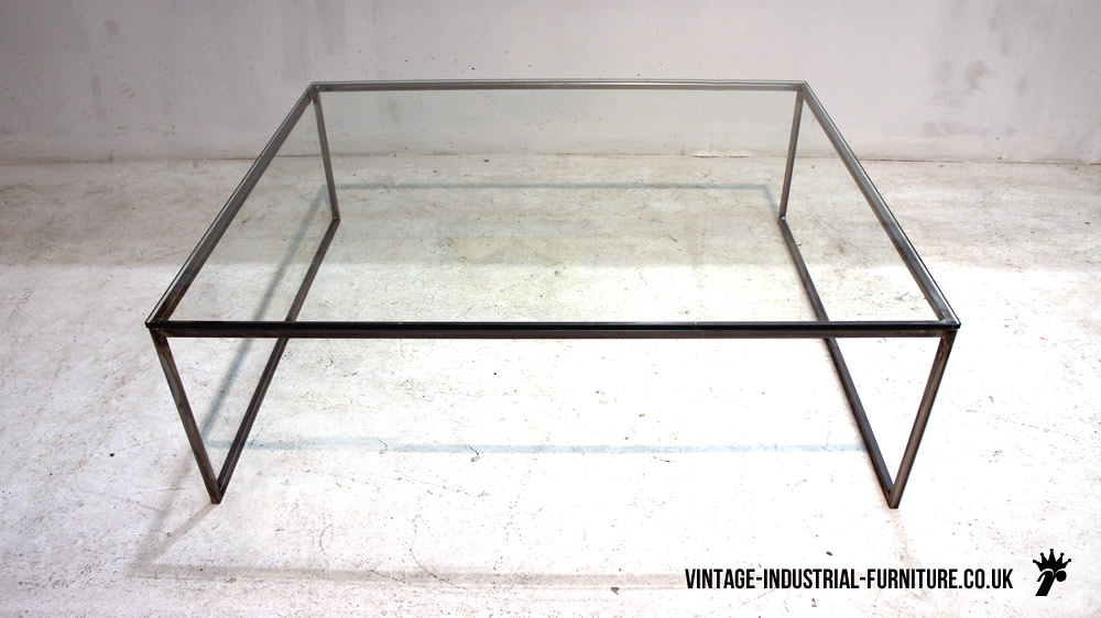 Glass Top Coffee Table By Vintage Industrial Furniture Glass Furniture Blog