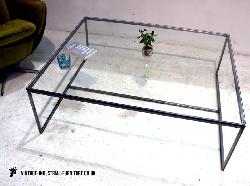vintage industricual glass coffee table